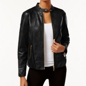 Michael Kors Faux Leather Biker Jacket - Sz. L
